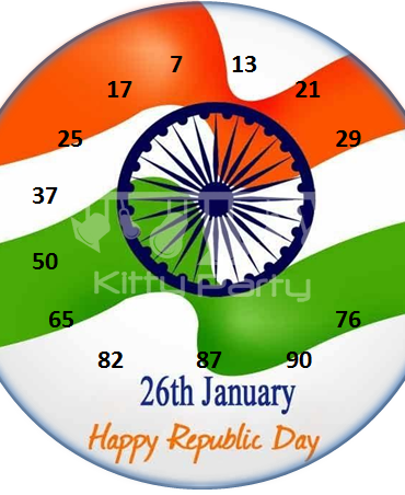 Republic Day Tambola Tickets (Round Flagged)