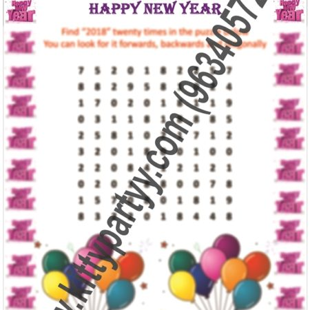 2018 Number Search Paper Game